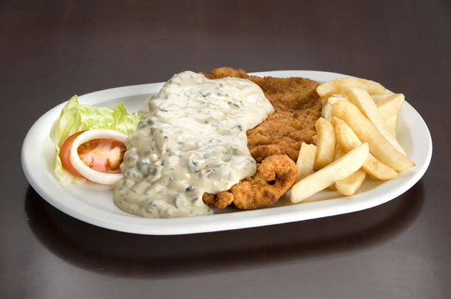 Chicken schnitzel with mushroom sauce from Pirates Steakhouse and Pub. Photo courtesy of the restaurant.