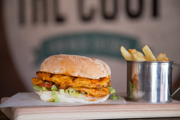 A chicken burger and chips at The Coop. Photo courtesy of Cuizine Durban.