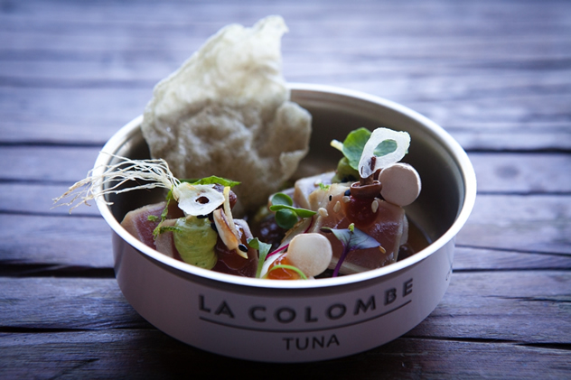 Butter-soft tuna tataki was served in bespoke tuna tins with avocado, quail egg, seaweed puff, ponzu gel, radish and chipotle broth by Chef of the Year Scot Kirton of La Colombe.