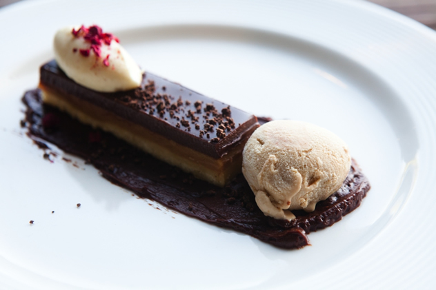 Millionaire's shortbread with freeze-dried raspberries, creamy, nut ice cream and white chocolate by George Jardine and Kyle Burn of Jordan Restaurant.