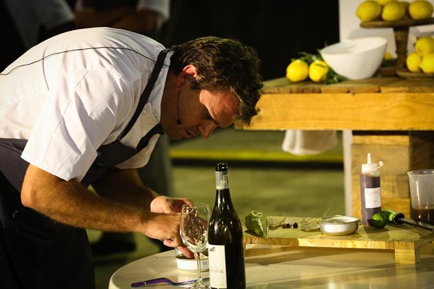 Chef of the Year Scot Kirton of La Colombe preparing the tuna tataki with Nederburg's The Young Airhawk.
