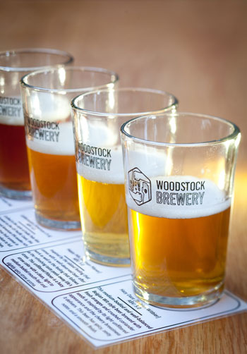A tasting selection of Woodstock Brewery beers. Photo courtesy of Jan Ras.