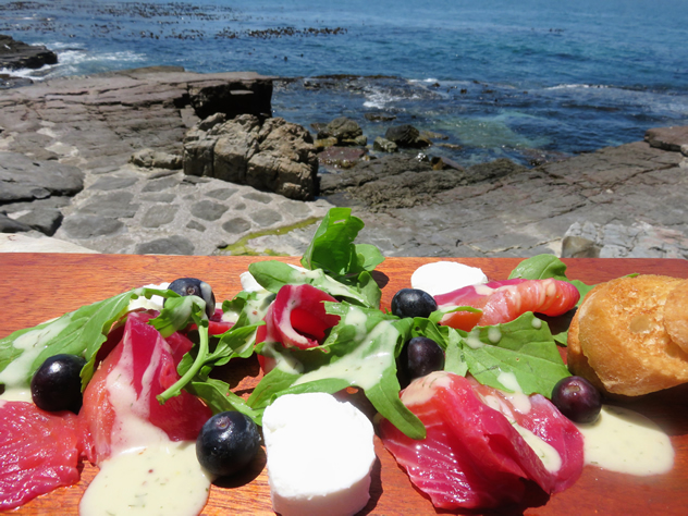 Beetroot infused Salmon with Goats Cheese & Blueberries at Bientang's Cave. Photo courtesy of the restaurant.