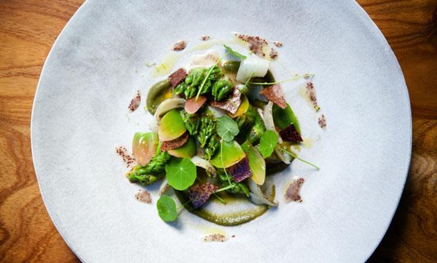 A dish of perlemoen, waterblommetjie and sour fig. Photo by Jan Ras.
