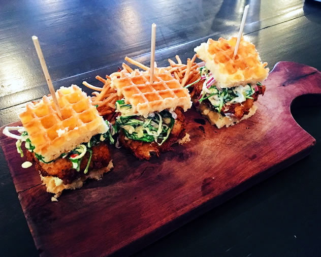 Waffle burgers at Republik. Photo courtesy of the restaurant.