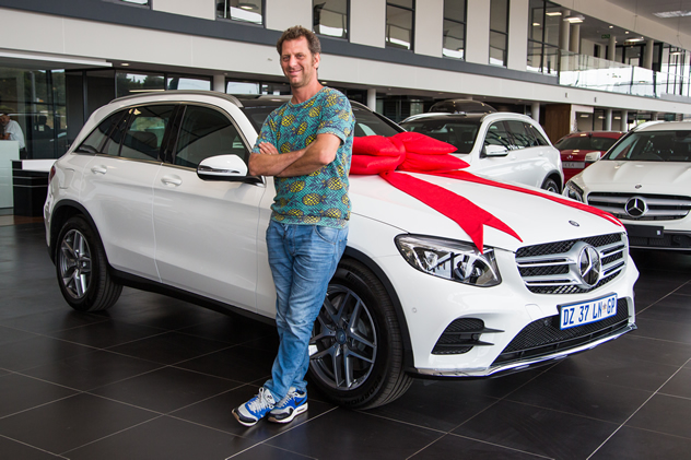 Chef Luke-Dale Roberts and his prize, a shiny new Mercedes-Benz GLC 300. Photo courtesy of Shavan Rahim.