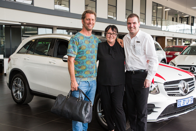 Luke-Dale Roberts, Abigail Donnelly and Eduan Smit from the Mercedes-Benz dealership pose for a photo. Photo courtesy of Shavan Rahim.