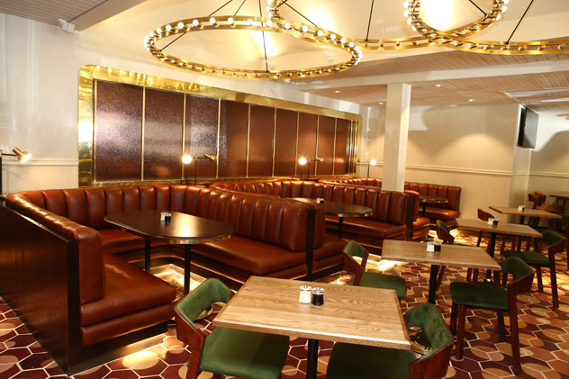 The leather booths at Fourteen on Chartwell. Photo courtesy of the restaurant.