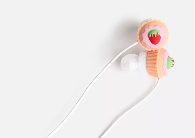 Earphones shaped like cupcakes.