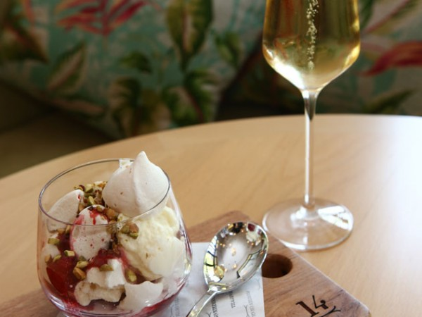 The Eton mess and a glass of bubbly at Fourteen on Chartwell. Photo supplied.