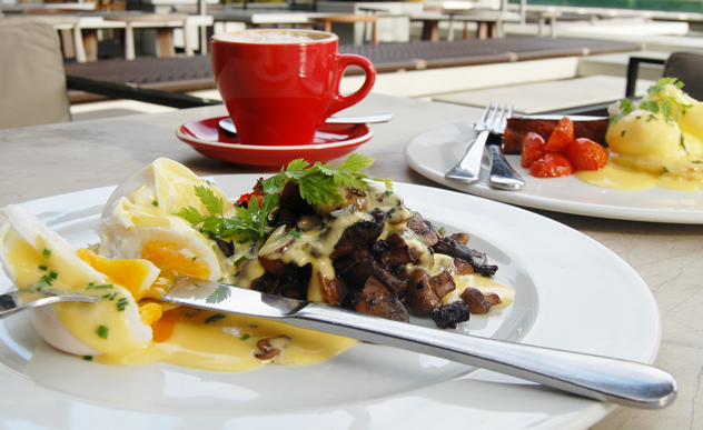 Eggs Benedicts & coffee at Bistro Sixteen82. Photo courtesy of the restaurant.