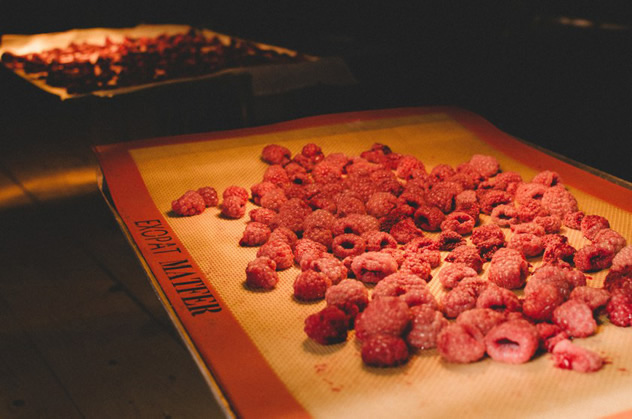 Raspberries on a mat at Fermier. Photo courtesy of the restaurant.