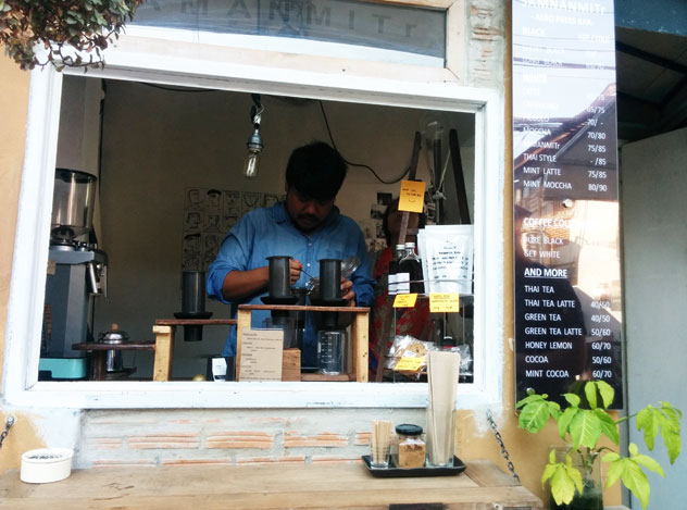 Coffee is serious business in Thailand: the Samanmitr Aeropress bar in Chiang Mai.