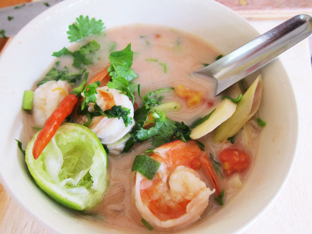 Tom yum soup - fresh out the kitchen at Thai Farm Cooking School.