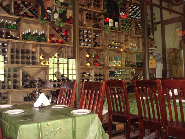 Wines in a rack at Restaurant Parreirinha. Photo courtesy of the restaurant.