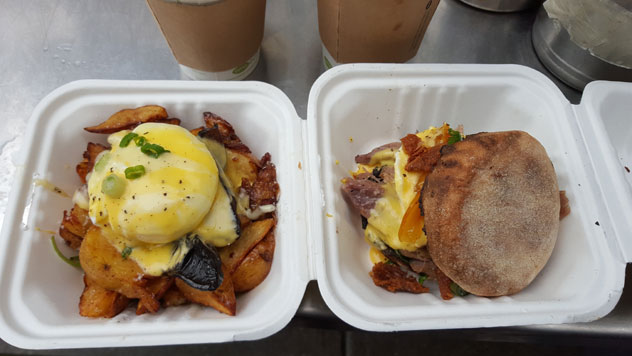The breakfast at Yolks Food Truck.