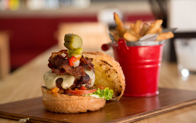 A burger and fries at Engruna Eatery. Photo courtesy of the restaurant.