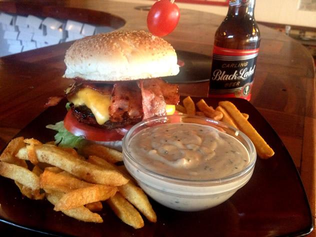 The cowabunga burger  at the Burger Bistro