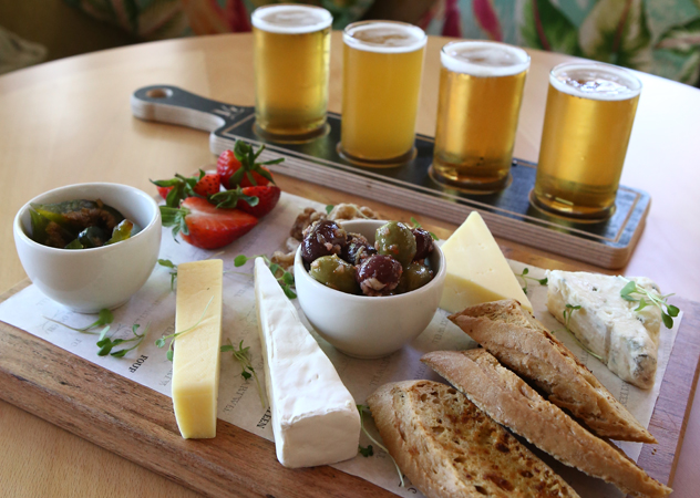 The beer and cheese flight at Fourteen on Chartwell. Photo courtesy of the restaurant.