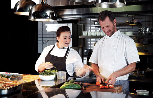 Candice Phillips and Luke Dale-Roberts in the restaurant's state-of-the-art kitchen. Photo courtesy of the restaurant.