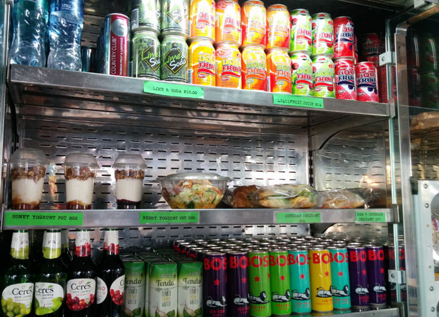 A portion of the display fridge at Lunchworks.