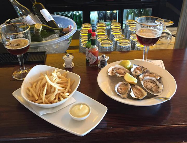 Oysters and fries at De Brasserie. Photo courtesy of the restaurant.
