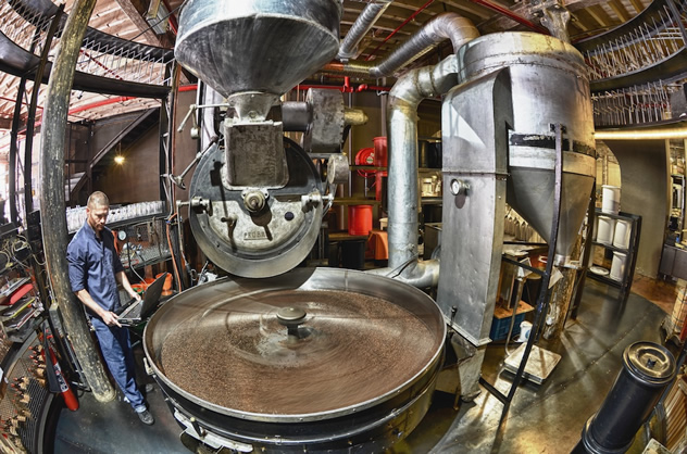 The roaster at Truth Coffee Roasting. Photo by Mickey Hoyle and Haldane Martin.