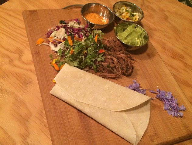 The National's pulled pork tortilla. Photo courtesy of the restaurant.