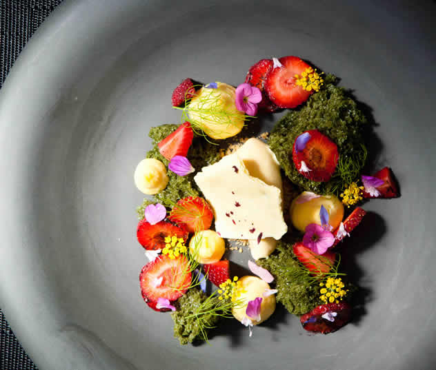 A fanciful dish at Camphors at Vergelegen. Photo courtesy of the restaurant.