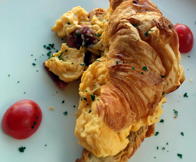 A croissant and scrambled egg at Locanda. Photo courtesy of Katharine Jacobs.