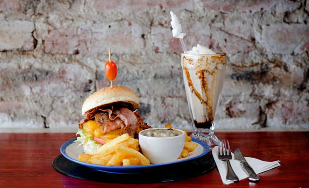 A monster burger and shake at Burger Bistro. Photo: supplied.