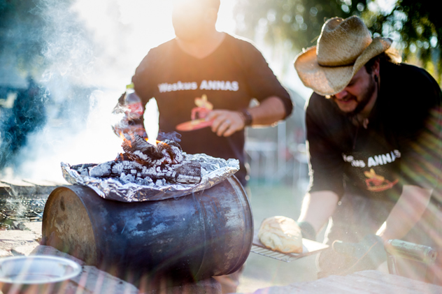 Hot coals on a drum on Ultimate Braai Master.
