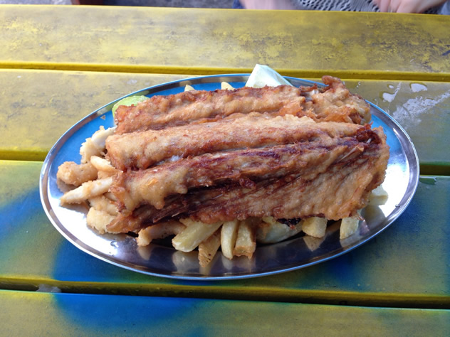 Battered fish and chips at Kalky's. Photo courtesy of the restaurant.