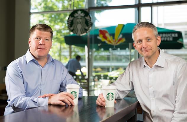 Kris Engskov of Starbucks & Carlo Gonzaga of Taste Holdings.