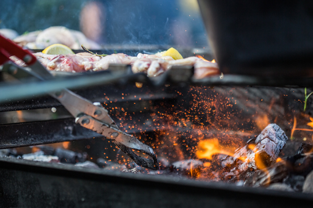 Meat on hot coals on Ultimate Braai Master.