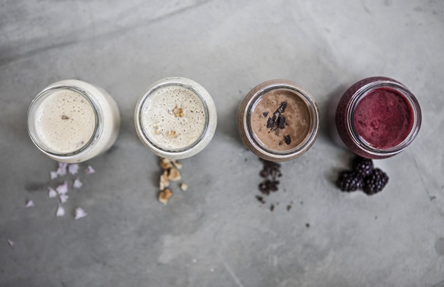 A range of healthy smooth shakes at IYO Burgers. Photo courtesy of the restaurant.