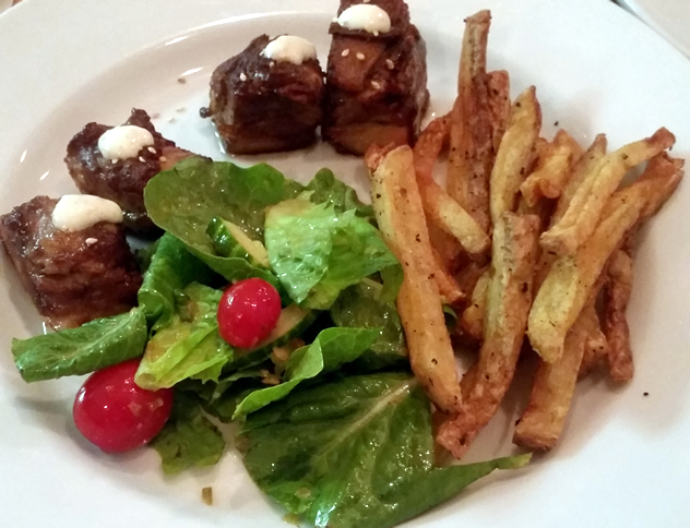 Slow-braised hoison-glazed pork belly and chips at Maggie's. Photo courtesy of Lauren Josephs.