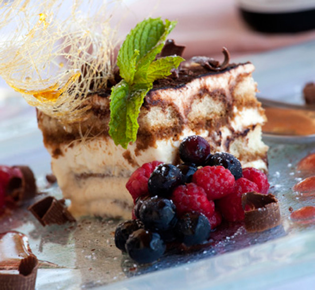 Tiramisu and berries at Terra Mare.