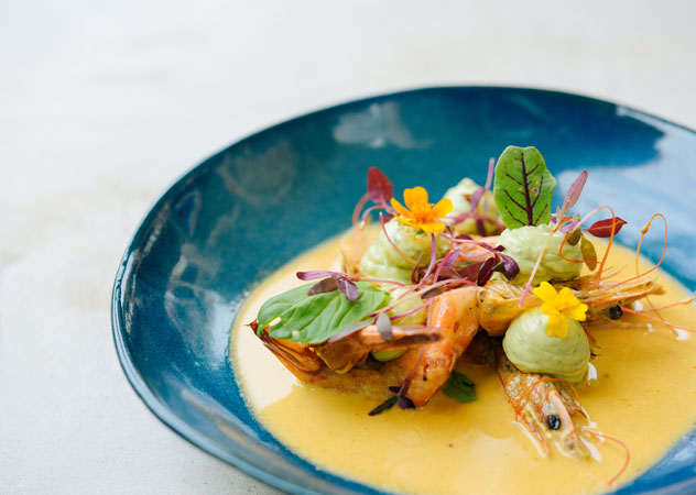 A beautifully plated prawn dish at The Chefs Table. Photo courtesy of the restaurant.