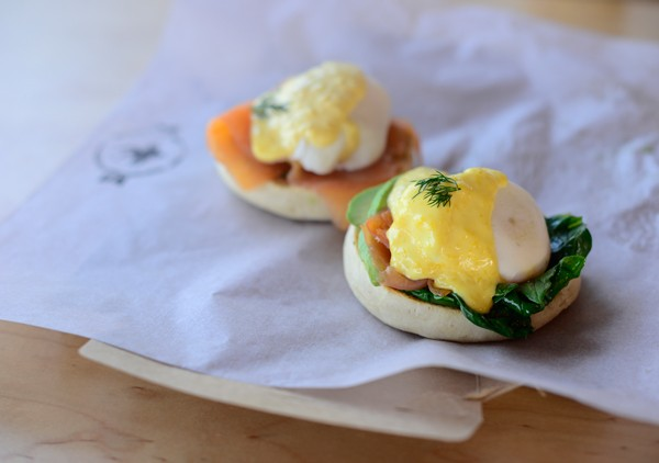 Poached egg and salmon muffin at Surf Riders Food Shack