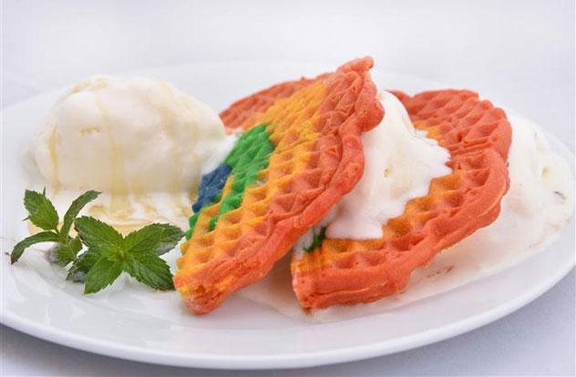 The rainbow waffle. Photo courtesy of Urth Cafe.