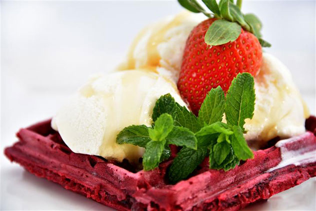 Urth Cafe's red velvet waffle. Photo courtesy of the restaurant.
