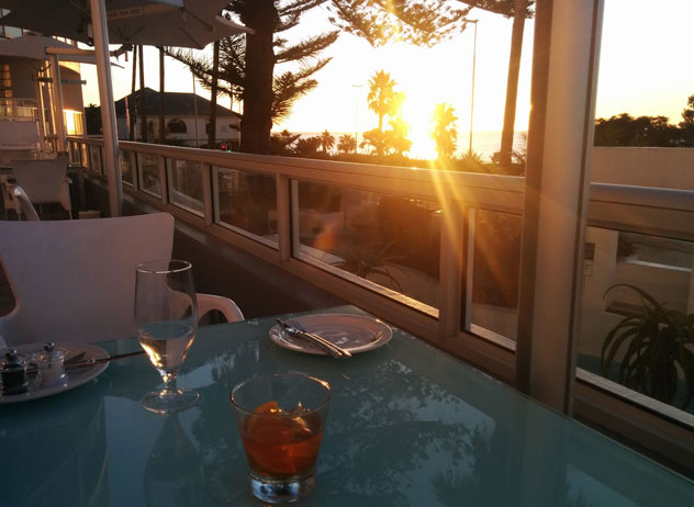 The smoking deck at sunset. Photo by Katharine Jacobs.