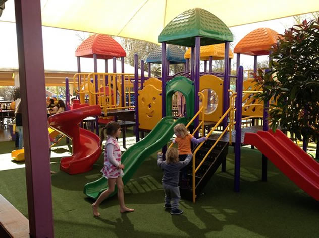 Children enjoying the play area at  Toni's Fully Furnished Pizza Co. Photo courtesy of the restaurant.