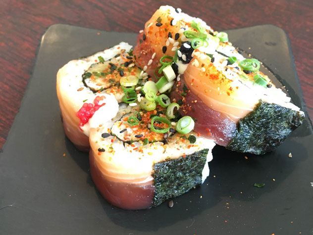 One of the sushi plates available from the extensive menu at 1890 House. Photo supplied.