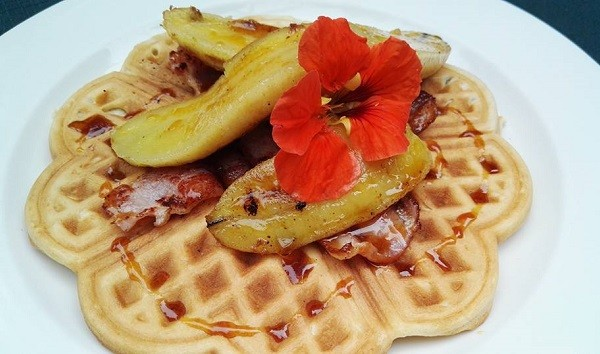 A waffle with roasted bananas at Hingham's Nursery and Tea Garden. Photo supplied.