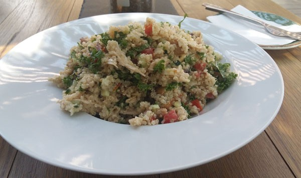 The author's roasted chicken quinoa salad. Photo by Thando Ndabezitha.