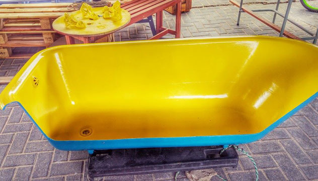 An upcycled bathtub will be used as seating. Photo supplied.