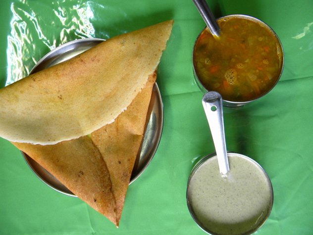 Dosa with sauces. Photo supplied.