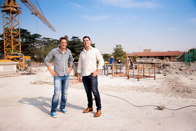 David and Gary on site in March. Photo supplied.